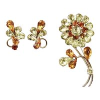 Vintage Sherman Yellow and Topaz Flower Brooch & Earrings