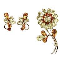Vintage Sherman Yellow and Topaz Flower Brooch & Earrings
