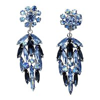 Vintage Sherman Blue Dangling Drop Earrings