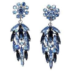 Vintage Sherman Blue Dangling Drop Earrings