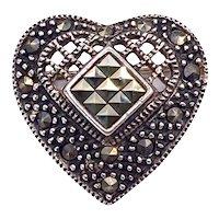 Vintage Sterling Silver Marcasite Pin Brooch