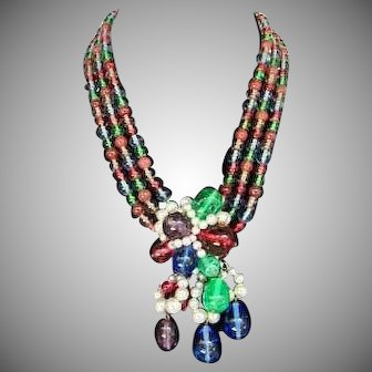 Vintage Louis Rousselet French Poured Glass Necklace