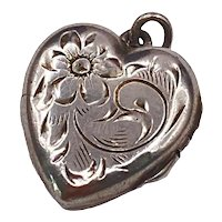 Vintage Sterling Silver Etched Heart Locket Charm