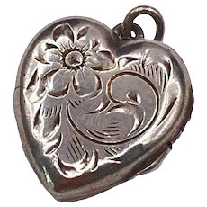 Vintage Sterling Silver Etched Heart Locket Charm