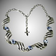 Vintage Blue Rhinestone and Silver Link Necklace