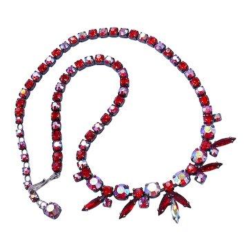 Vintage Sherman Siam Red Aurora Borealis Necklace