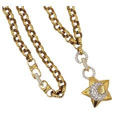 Vintage Swarovski Crystal Celestial Star and Moon Necklace