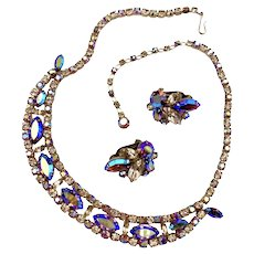 Vintage Sherman Yellow and Topaz Aurora Borealis Necklace & Earrings