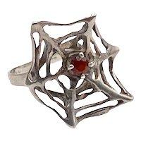 Vintage Modernist Sterling Spider Web Ring  with Garnet