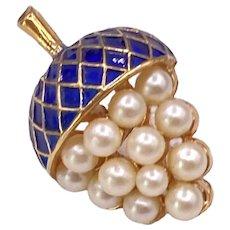 Vintage Petite Trifari Acorn Brooch Faux Pearls and Enamel
