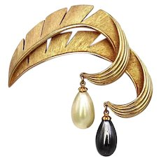 Vintage Trifari Faux Pearl Dangle Brooch