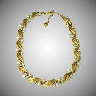 Vintage  Trifari Goldtone Rhinestone Faux Pearl Necklace