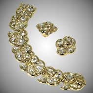 Vintage Crown Trifari Crystal Rhinestone Bracelet & Earrings