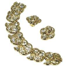 Vintage Crown Trifari Crystal Rhinestone Bracelet & Earrings