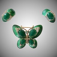 Vintage Trifari L'Orient Butterfly Earrings Green Enamel
