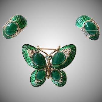 Vintage Trifari L'Orient Butterfly Earrings Green Enamel