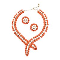 Vintage Trifari Faux Pearl & Coral Resin Lariat Style Necklace and Earrings