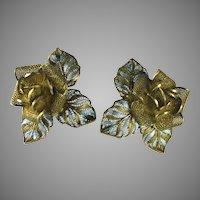 800 Silver Gilt and Enamel Flower Earrings