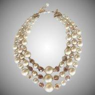 Vintage Vendome Champagne Sugar Bead 3 Strand Necklace