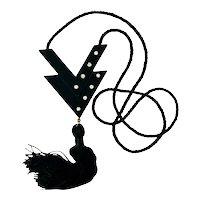 Vintage  Valentino Couture Black Resin Perfume Pendant Necklace