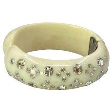 Vintage Weiss Lucite Thermoplastic Rhinestone Clamper Bracelet