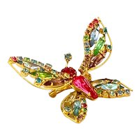 Vintage Weiss Trembler Multicolored Rhinestone Butterfly Brooch