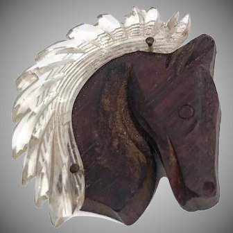Vintage Wood and Lucite Horse Head Brooch