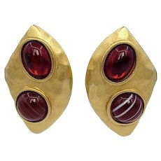 Vintage YSL Glass Cabochon Earrings