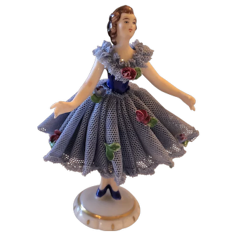 "Dresden German 3 3/4"" Tall Lace Figurine"
