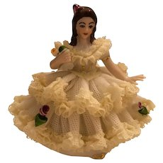 """Dresden German 3"""" Tall Lace Figurine Seated Lady in Yellow and White Lace Dress"""
