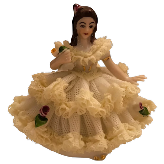 "Dresden German 3"" Tall Lace Figurine Seated Lady in Yellow and White Lace Dress"