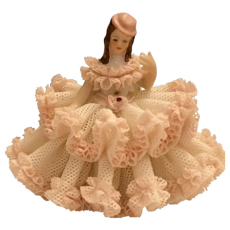 "Lovely Dresden Figurine 3"" Beauty and Grace"