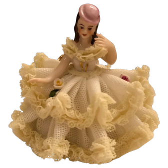 "Vintage Dresden Laced Lady Sitting 2 3/4"" Tall"
