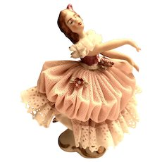 "Dresden German Ballerina 3 1/2"" Tall Lace Figurine"