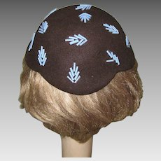 Deco Hat 1944 Beaded Skull Cap Marshall Field & Co.