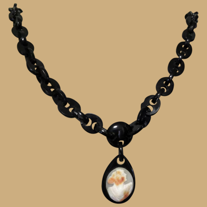 Whitby Jet Cameo Necklace Victorian