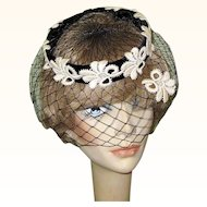 Vintage 40's 50's Black Velvet Hat, Netting & Lace