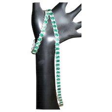 Sterling & Malachite Necklace & Bracelet, In Line Link