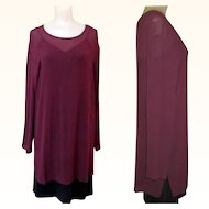 Vintage Silk Tunic, Sheer Purple, Carole Little