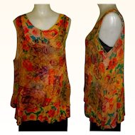Vintage 80's Silky Layered Sleeveless Blouse, Sheer URU