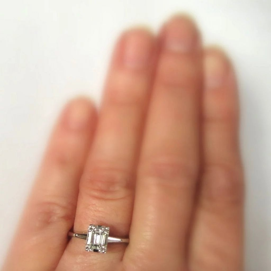 Diamond Engagement Ring 14k Emerald Cut 1 2 Carat