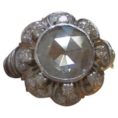 Rose Cut Diamond Ring, Platinum, 10mm Solitaire Engagement Ring GIA