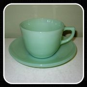 Fire King Jadeite Ransom Coffee Cup & Saucer  1700 Line Glass