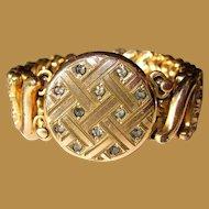 30's Sweetheart Bracelet, Deco Carmen, Gold Filled & Rhinestones