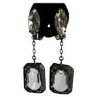 Crystal Black Filigree Frame Earrings, Lewis Segal