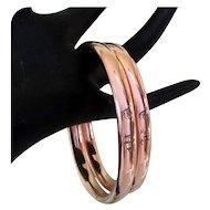 Victorian Wedding Bracelets, Set Rolled Rose Gold