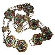 Vintage Art Nouveau Belt, Necklace, Filigree & Steel Cut Beads