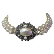 Miriam Haskell Faux Baroque Pearl 2 Strand Necklace, Rhinestone  & Filigree