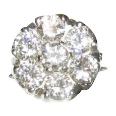 2.1 Ct Diamond Engagement Ring, 14K Edwardian Engagement Cluster