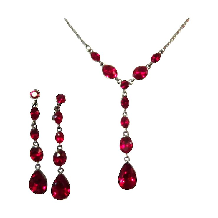 Givenchy Rhinestone Necklace Drop Earrings Red Demi
